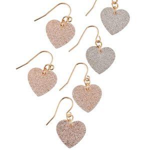 Glitter Heart-Drop Earrings, Set of 3